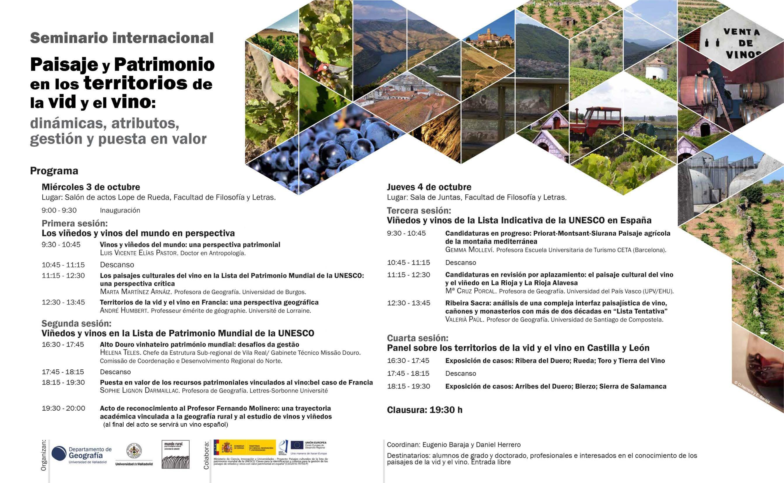 Seminario Internacional: Paisaje y Patrimonio en los territorios de la vid y el vino